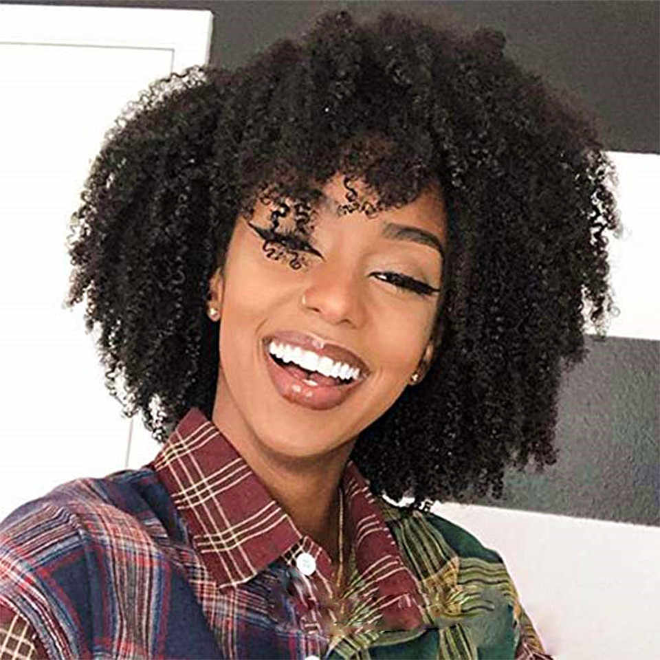 Afro Kinky Curly Full Lace Wigs With Baby Hair Glueless Brazilian Kinky Curly Full Lace Human Hair Wigs Bleached Knots Lace Wigs