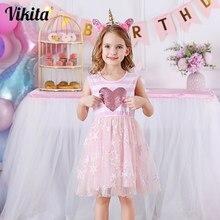 VIKITA-vestidos de verano para niños, vestido sin mangas a rayas, con corazón de lentejuelas, princesa