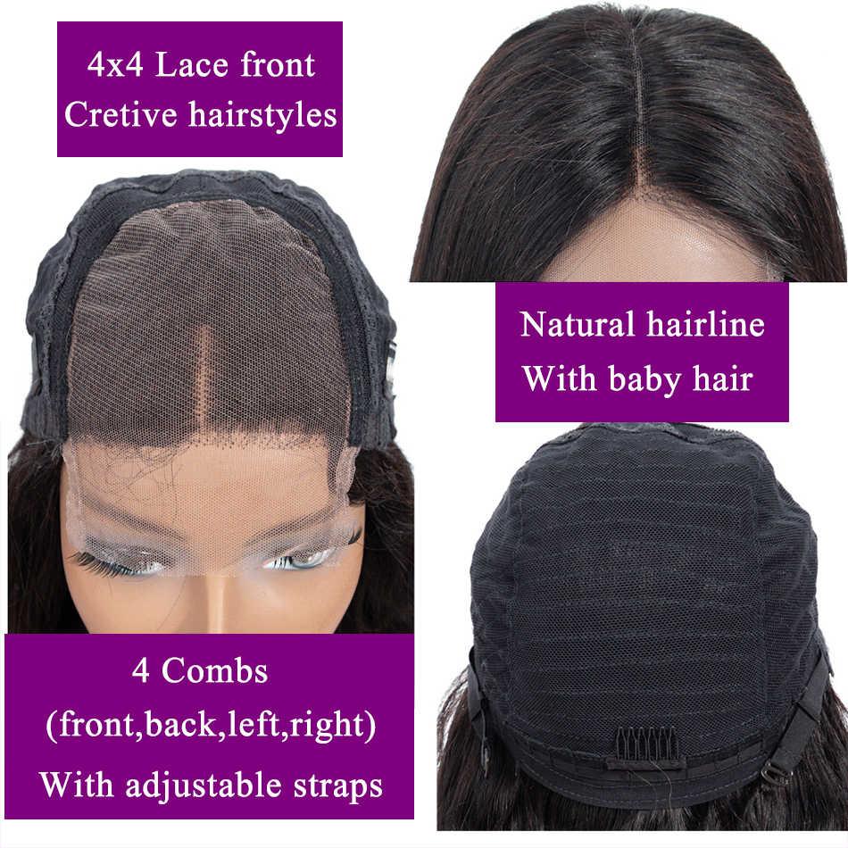 Cierre peluca pelucas de cabello humano para las mujeres negras Remy 4 × 4 pelo humano del cierre del cordón peluca brasileña Peluca de pelo liso de Color Natural