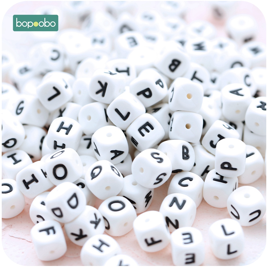 Bopoobo 30PC 12mm Silicone Letter Beads Food Grade Teether Silicone Alphabet Safe Natural Teething Toys For Baby Organic Teether