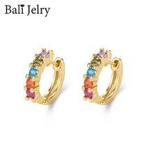 BaliJelry Trendy kolczyki ze srebra próby 925 biżuteria akcesoria dla kobiet ślub zaręczyny z topazem kamień kolczyki w kształcie obręczy hurtowych