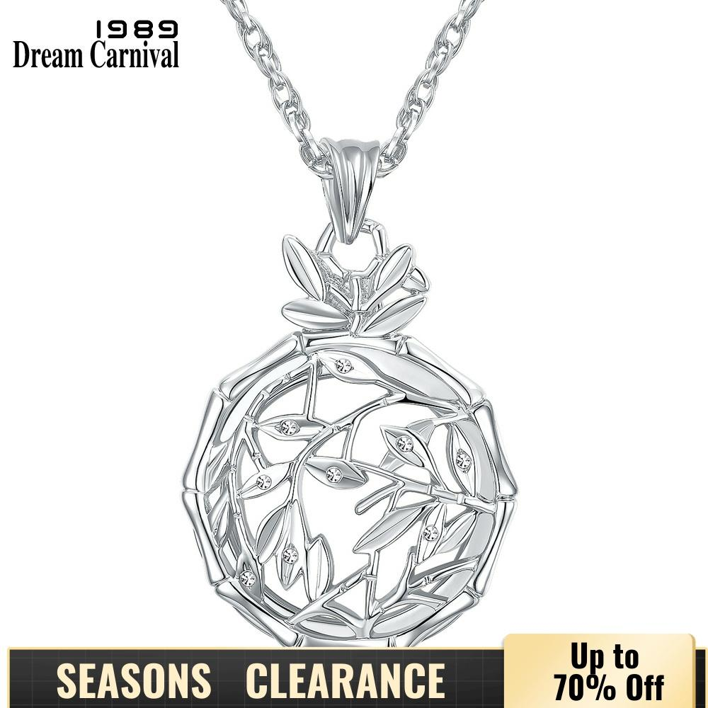 Dreamcarnival1989 Bamboo Leaves Gold Color Magnifier Glass Len Pendentif Femme Long Colar Necklace & Pendant Mutter MaMa Jewelry
