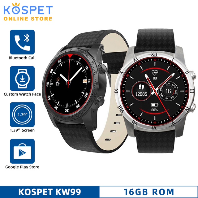 "KW99 3G Android Support Bluetooth Call Smartwatch Phone Heart Rate GPS Pedometer 1.39""AMOLED WIFI Sport Smart Watch Phone Men"