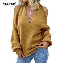 Женский свитер с v образным вырезом и открытыми плечами уличная