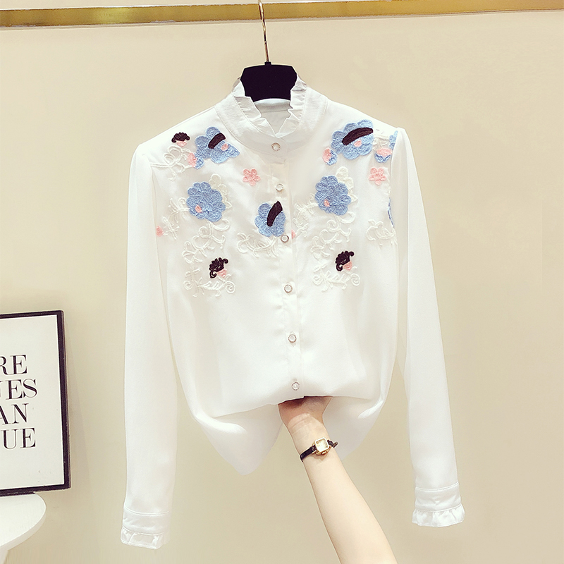 Plush Velvet Thick Warm Top Embroidered Chiffon Shirt for Women 2020 Autumn Winter Shirts Female Stand Collar Long Sleeve Blouse