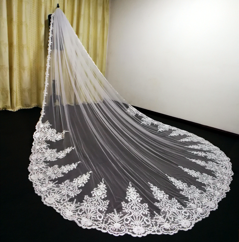 Custom Made Luxury 3M Wedding Veils With Lace Applique Edge Long Cathedral Length Veils One Layer Tulle Custom Made Bridal Veil