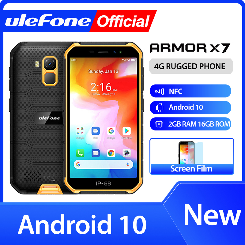 Ulefone Armor X7 5.0-inch Android10 Rugged Waterproof Smartphone Cell Phone 2GB 16GB  Ip68 Quad-core  NFC 4G LTE Mobile Phone