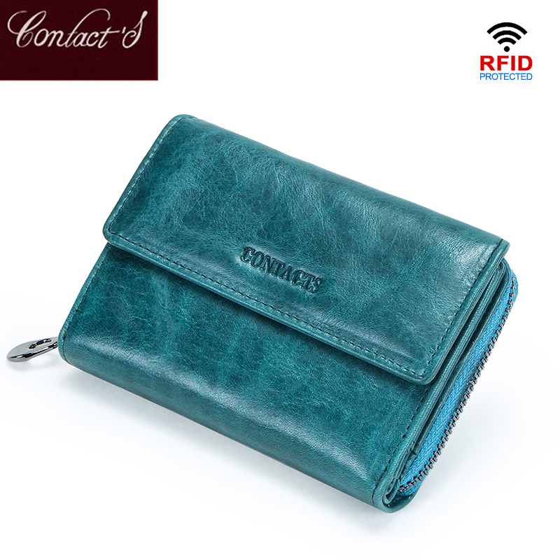 Contact's RFID Short Wallet Female Genuine Leather Coin Purse Small Wallets Women Card Holder Zipper Money Bag For Girls Cartera