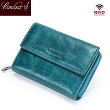 연락처의 RFID 짧은 지갑 여성 정품 가죽 동전 지갑 작은 지갑 여성 카드 홀더 지퍼 돈 가방 여자 Cartera