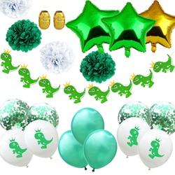 1 zestaw cartoon dinozaur gwiazda balony Banner papierowa kwiecista kula zestaw DIY balony lateksowe balony konfetti urodziny Party Baby Shower Decor