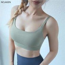 NCLAGEN – Soutien-Gorge de sport à fort Impact pour femmes, t-shirt de Fitness Push-up, débardeur de course