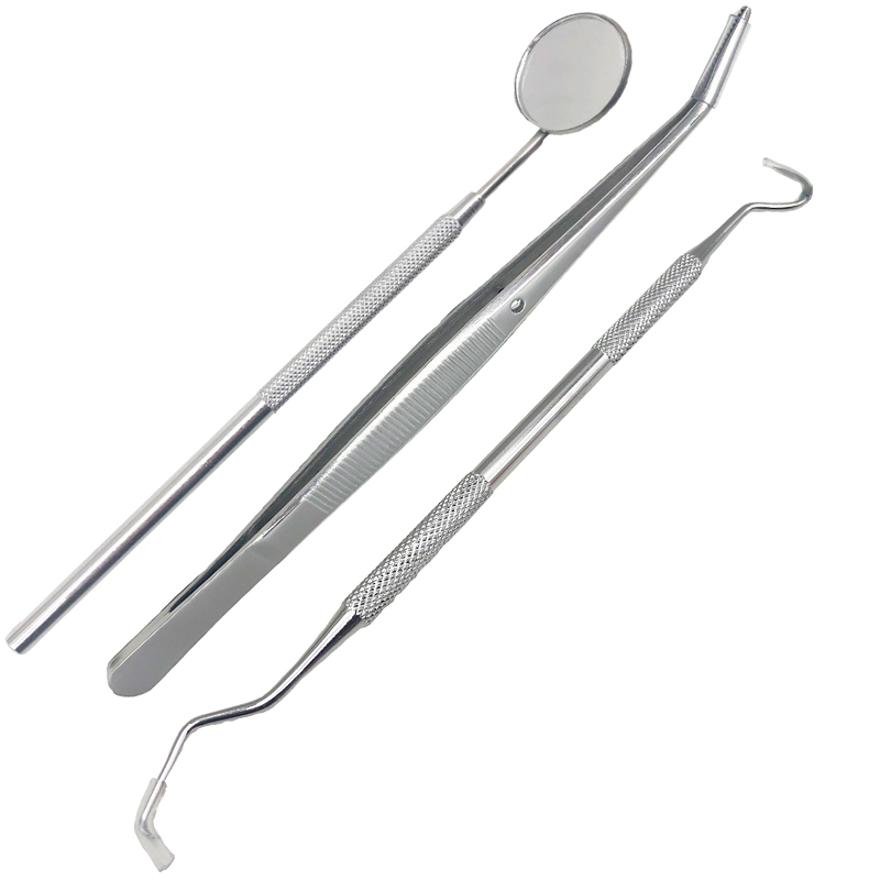 3Pcs Dental Instrument Dentist Kit Tooth Cleaning Tools Mouth Mirror Probe Hook Pick Tweezer Set Dentistry Dentista Prepare Tool