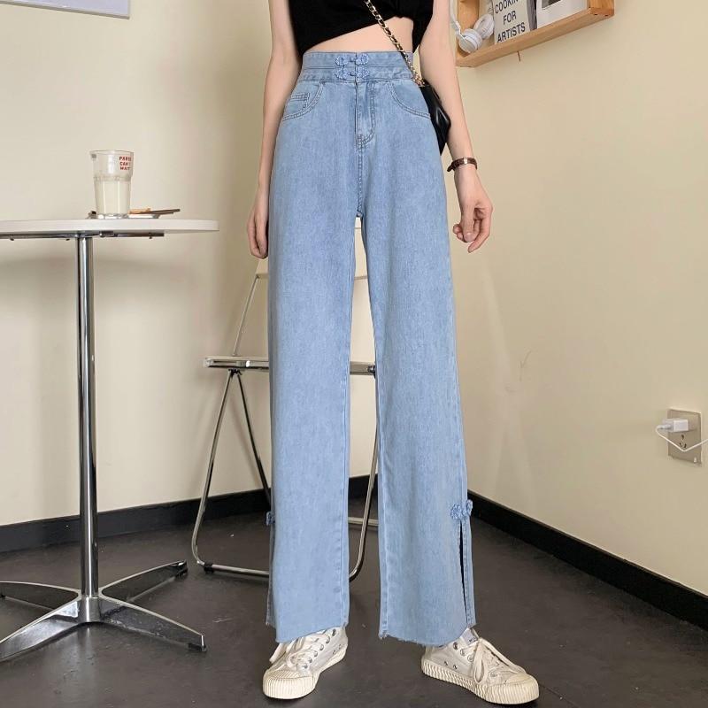 New Summer Korean Style Loose Harajuku BF Split Straight Jeans Wide Leg Pants Capri-Pants Women 2020