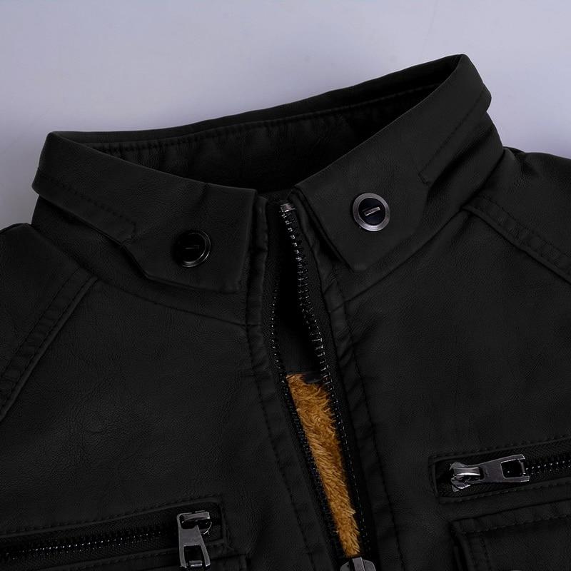 Hcc6f6129dca440c2a9e1a059c36978adQ Luxury 2019 Leather Jackets Men Autumn Fleece Zipper Chaqueta Cuero Hombre Pockets Moto Jaqueta Masculino Couro Slim Warm Coat