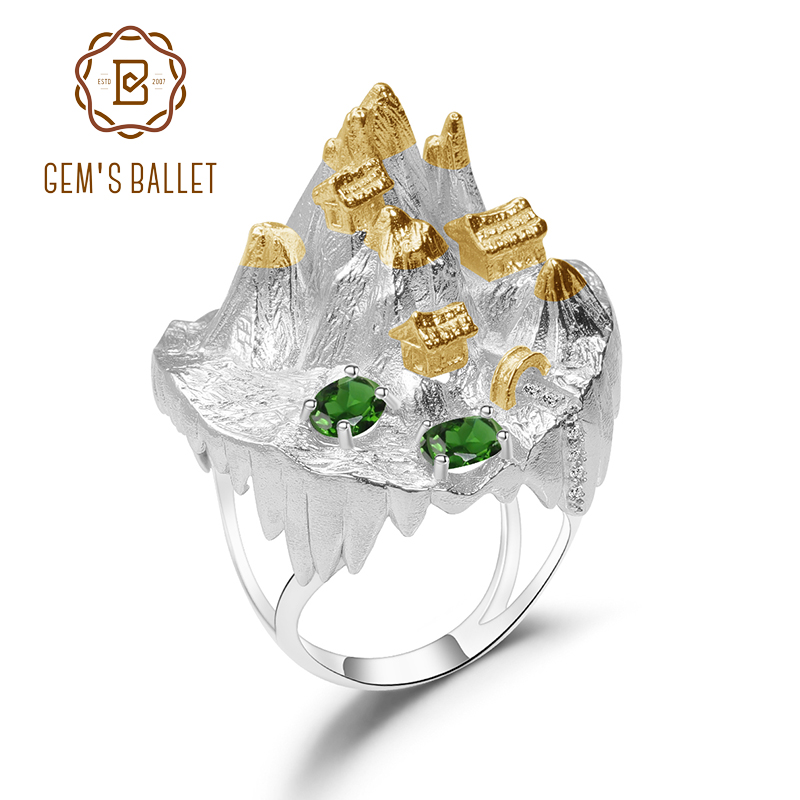 GEM'S BALLET 925 Silver Gold Plated Ring For Women Halloween Horror Story Natural Chrome Diopside Handmade Gemstone Ring Jewelry