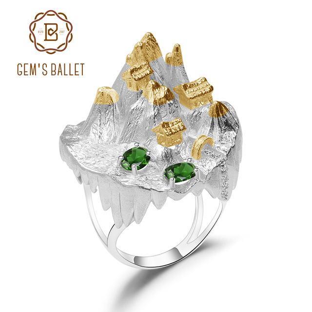 GEMS BALLET 925 Silver Gold Plated Ring For Women Halloween Horror Story Natural Chrome Diopside Handmade Gemstone Ring Jewelry