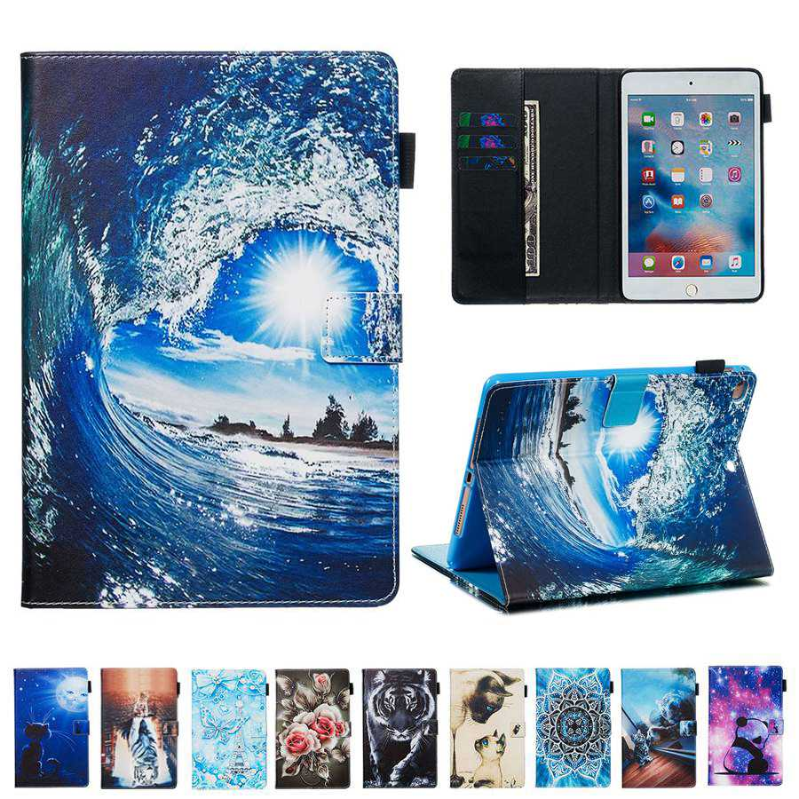 New 3D Printing PU Leather Case For Samsung Galaxy Tab A 10.1 2019 SM-T510 SM-T515 T510 T515 With Card Slots Case+film+pen