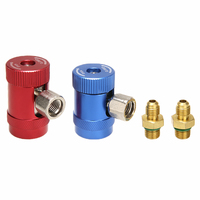 2pcs Car Auto AC High / Low Side R1234yf Quick Couplers Adapters Conversion Kit With Manual Couplers Accessories Tool