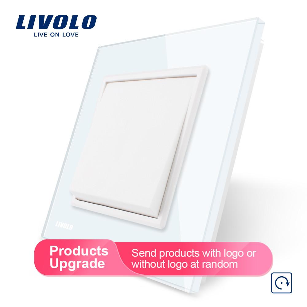 Livolo Manufacturer EU standard Luxury 4 colors crystal glass panel, 1 gang 1 way Push Reset switch, VL C7K1H 11/12/13/15-in Switches from Lights & Lighting