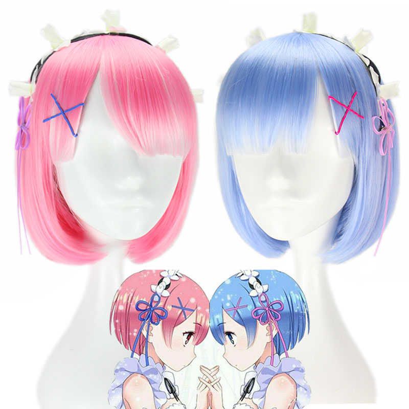 Anime Re:Life In A Different World From Zero Ram Rem Short Blue Pink Wig Cosplay Costume Prop Anime Cosplay Wigs Halloween Gifts