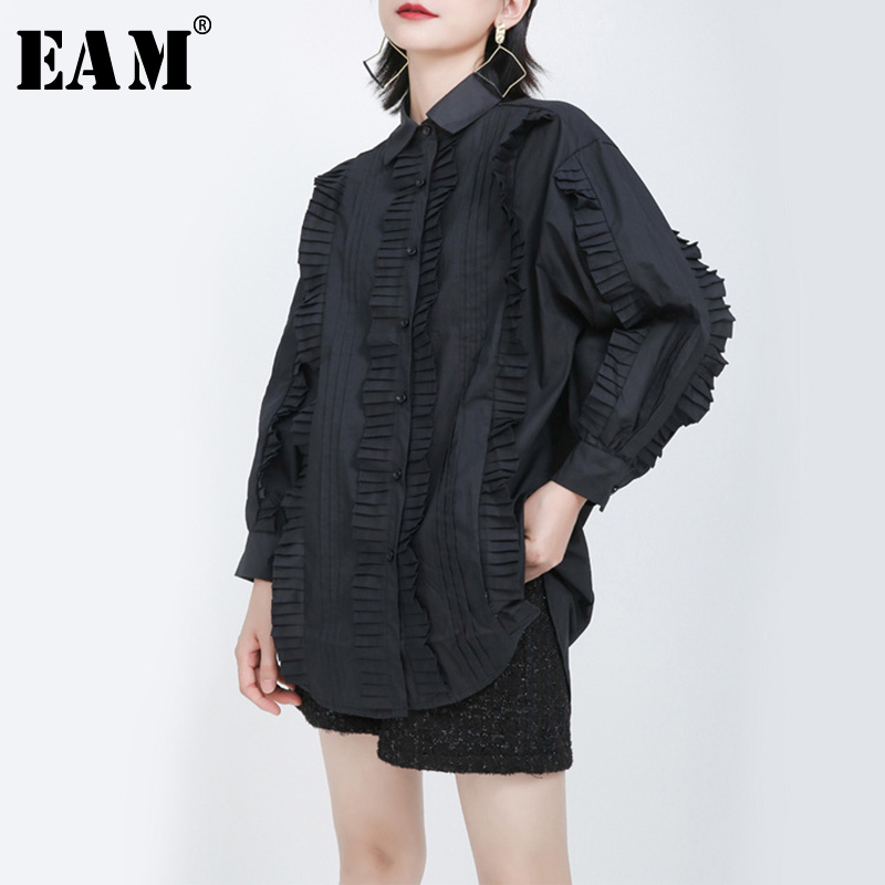 [EAM] Women Black Pleated Split Big Size Blouse New Lapel Long Sleeve Loose Fit Shirt Fashion Tide Spring Autumn 2020 1S270