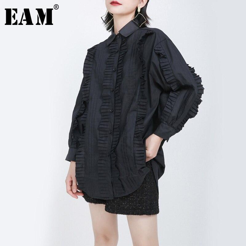 [EAM] Women Black Pleated Split Big Size Blouse New Lapel Long Sleeve Loose Fit Shirt Fashion Tide Spring Autumn 2020 1S270