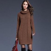 Katı balıkçı yaka uzun kazak kadın rahat artı boyutu kazak örme elbise sonbahar kış kadın moda kalınlaşmak sıcak kazak