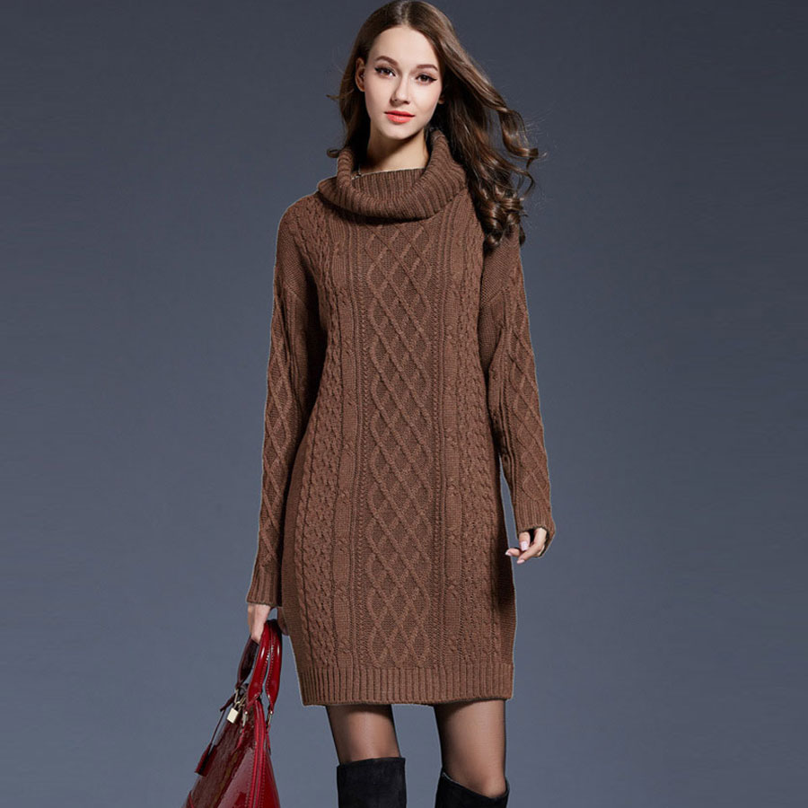 Solid Turtleneck Long Sweater Women Casual Plus Size Pullover Knitted Dress Autumn Winter Female Fashion Thicken Warm Sweater
