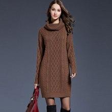 Solide Rollkragen Lange Pullover Frauen Casual Plus Größe Gestrickte Pullover Kleid Herbst Winter Weibliche Mode Verdicken Warme Pullover