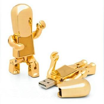 Gold Fashion Robot USB 2.0 Flash Drive Metal 16GB 32GB 64GB 2.0 Pen Drive Pendrive 1TB 2TB Pendrives Memory Stick Card Key Gifts