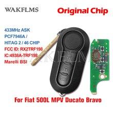 3 버튼 원격 키 Fob 433MHz ID46 피아트 500L MPV Ducato 시트로엥 점퍼 푸조 복서 2008 2015 RX2TRF198 마크