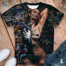 Camiseta de manga corta con estampado 3D Venom, camiseta de estilo hip-hop con cuello en O de gran tamaño, ropa de moda nueva