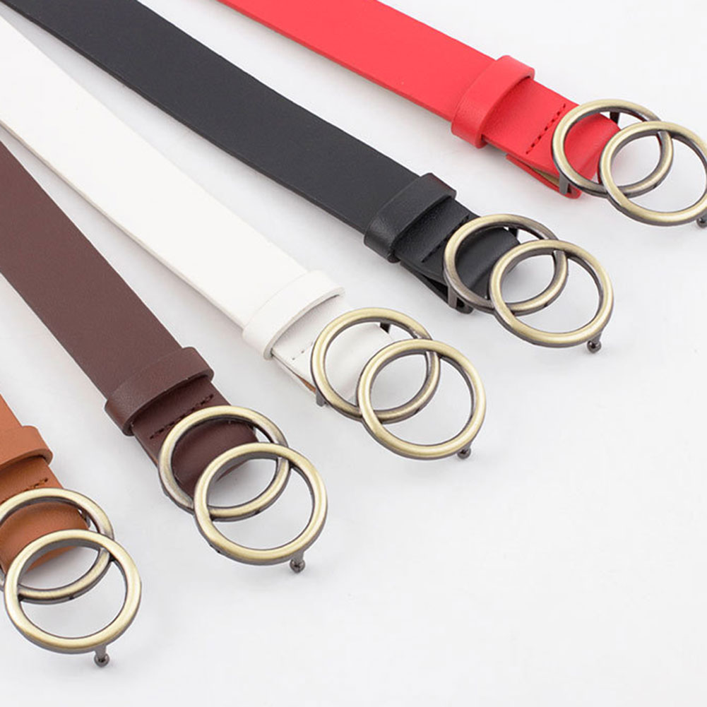 Newly Women Leather Belt Jeans Pants Waist Strap With Double O-ring Alloy Buckle DO99