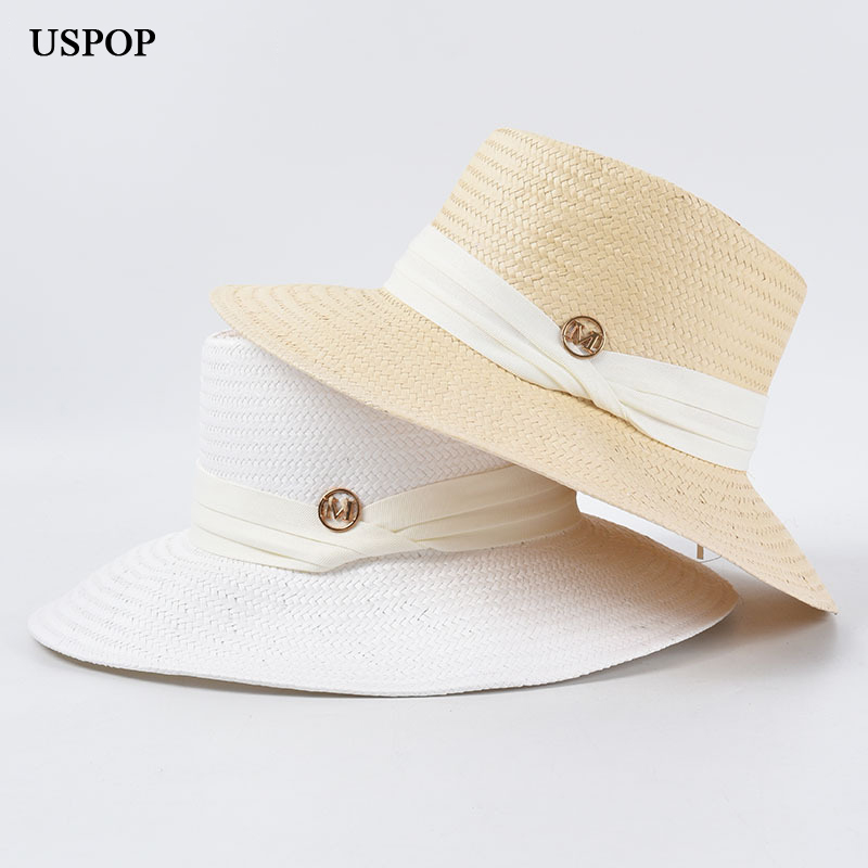 USPOP 2020 Straw Sun Hats Wide Brim Beach Hat  Summer Hats Letter M Ribbon Sun Hats