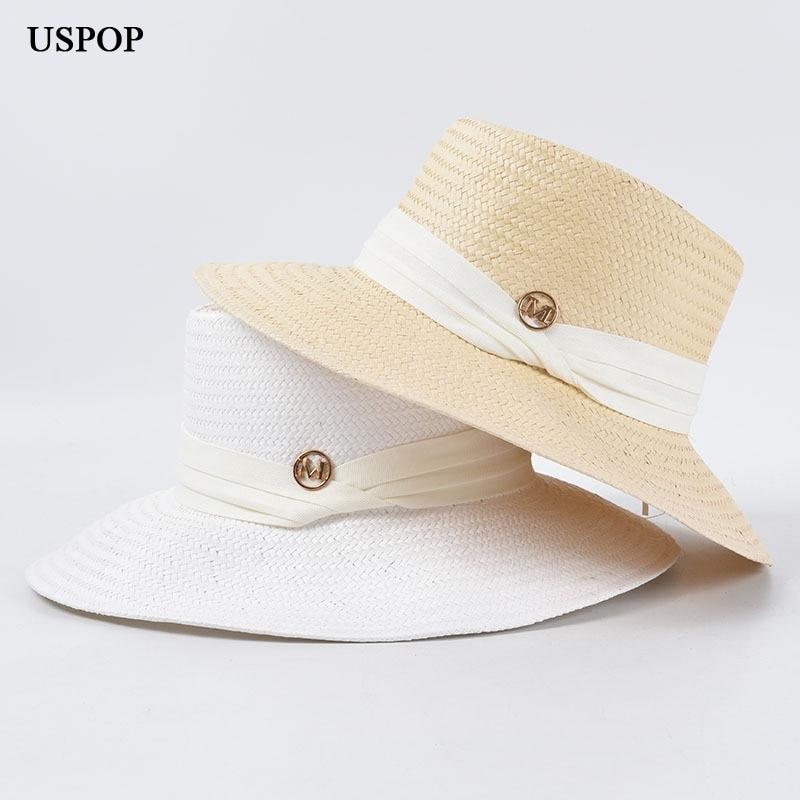 USPOP 2020 Straw sun hats wide brim beach hat  summer hats letter M ribbon sun hats