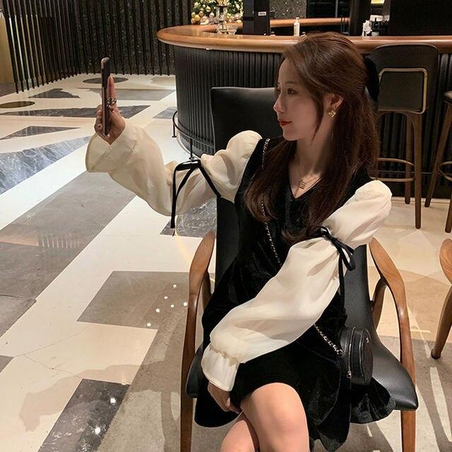 French Vintage Mini Dress Women 2021 Spring Lace Bow Velvet Evening Party Dress Female Y2k Casual Kawaii One Piece Dress Korean 6