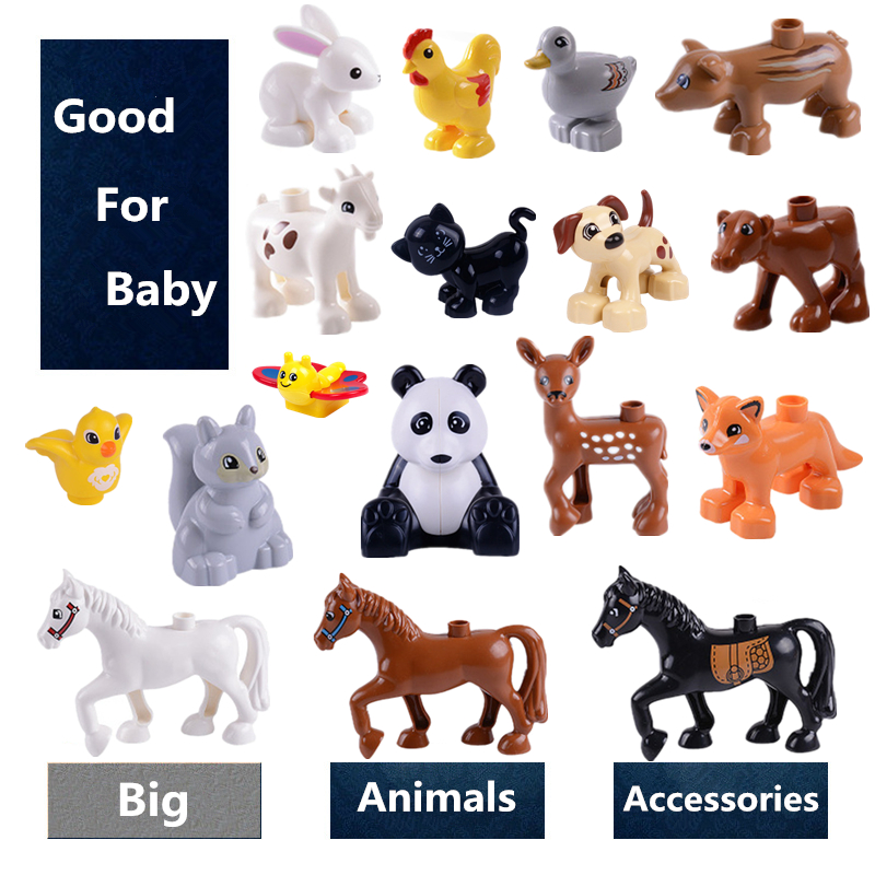 Big Size Family Animals Panda Horse Deer Pig Cow Cat Diy Building Blocks Compatible With Duploed Toys For Children Kids Gifts