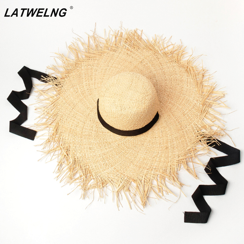 Long Ribbon Banded Raffia Hats For Women Fashion Dome  Oversized Beach Hat Outdoor Summer Shade Sun Hat