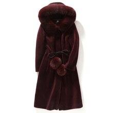 цена на 2019  Autumn and Winter  Fashion Leather Grass Sheep Shearing Fur Coat in the Long Section Fox Fur Lamb Coat Coat Women's Hooded
