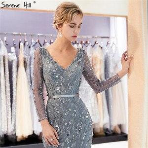 Image 4 - Serene Hill vestido de noche de sirena de manga larga, vestido azul marino de cristal hecho a mano, Sexy, elegante y lujoso, para fiesta, CLA6010, 2020