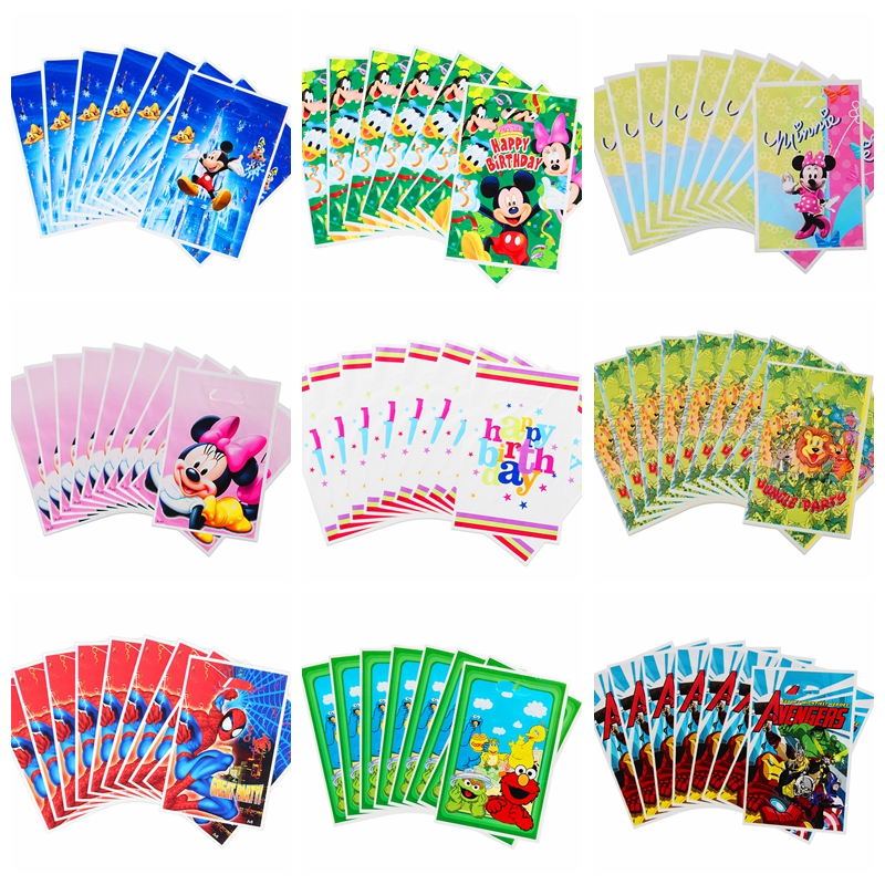 40/50 Pcs/lot Cartoon Theme Party Gift Bag Plastic Candy Bag Loot Bag For Kids Birthday Baby Shower Party Decoration Supplies