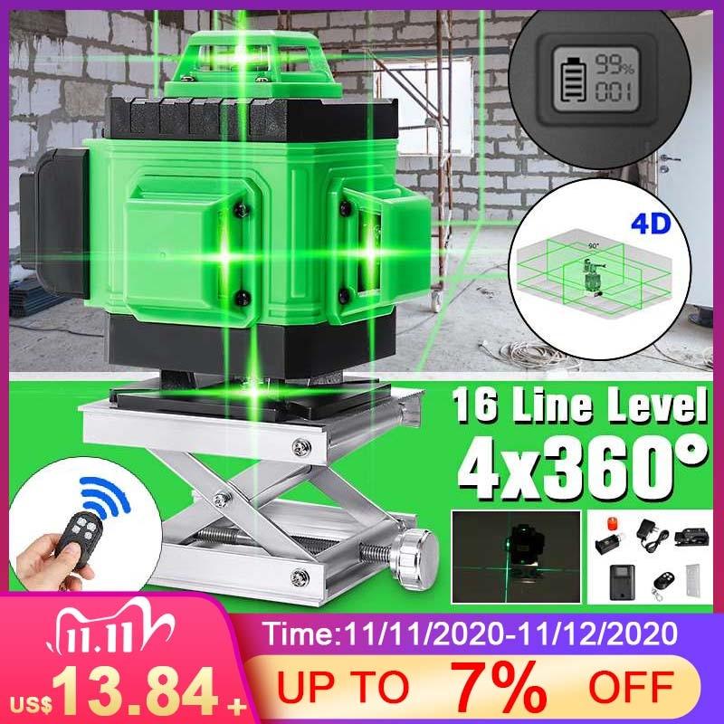 Профессиональный 4D 16 линий лазерный уровень 4D самонивелирующийся 360 горизонтальный и вертикальный крест цветной зеленый лазерный луч лини...