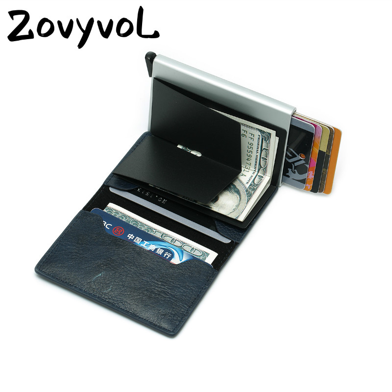 ZOVYVOL Anti RFID Men Leather Credit Card Holder Metal ID Card Case Aluminium Card Protection Male Travel Wallet For Men Women