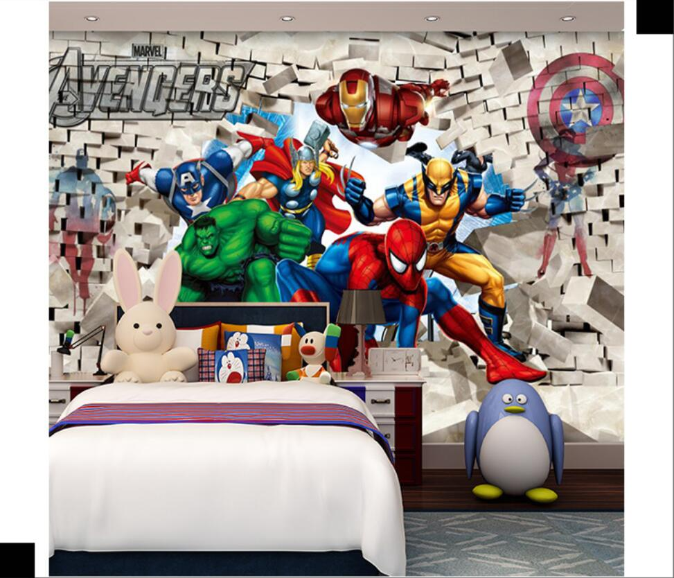 Milofi Custom 3D Photo Wallpaper 3D Cartoon Kids Room Wallpaper Avengers Bedroom Background Wall Paper Spiderman