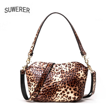 SUWERER 2020 New Fashion Leopard bag women Genuine Leather bag real cowhide Luxury handbags famous brand leather shoulder bag