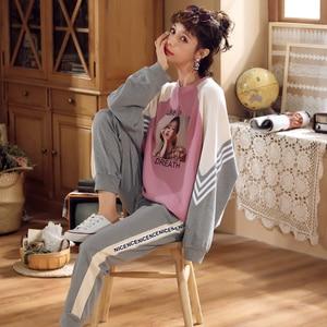 Image 3 - Jrmissli 코튼 잠옷 여성 가을 겨울 긴 소매 플러스 사이즈 잠옷 파자마 세트 라운지 세트 여성 잠옷 가정 의류