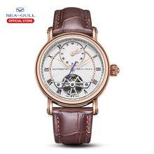 Seagullผู้ชายนาฬิกาDual Time Zoneเข็มขัดกันน้ำอัตโนมัตินาฬิกาMaster Series 519.11.6041