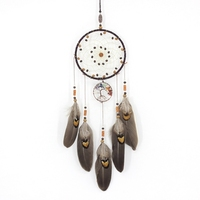 Handmade girl heart indian dream catcher net with feathers wall car hanging decoration ornament white dreamcatcher room decor