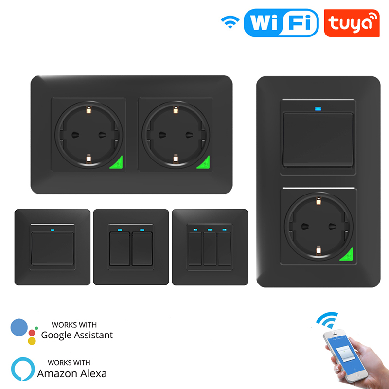 DE EU WiFi Smart Push Button Light Wall Switch Socket Outlet Smart Life Tuya Remote Control Work With Alexa Google Home Black