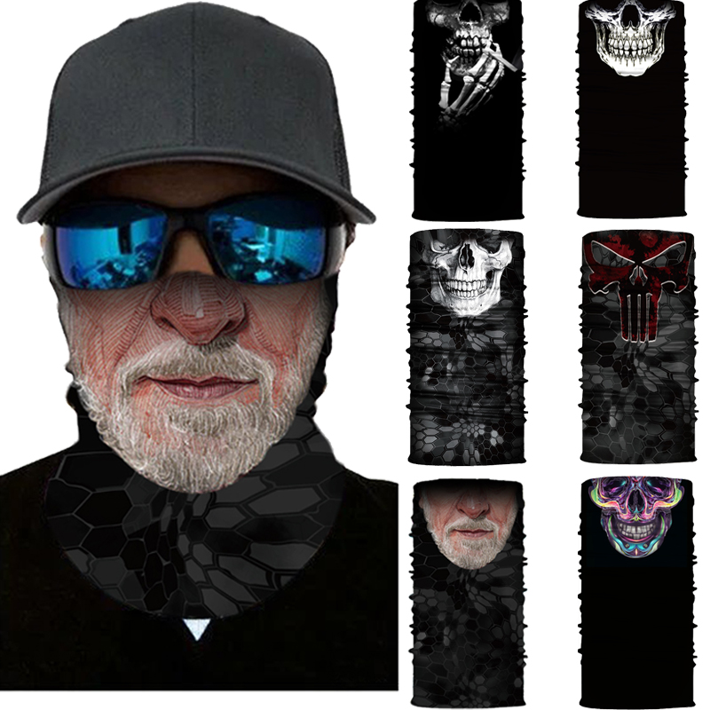 Seamless Neck Gaiter Skull Moto Balaclava Women Men Camping Hiking Bandana Scarf Outdoor Fishing Tube Scarf Cover Face Scarves(China)